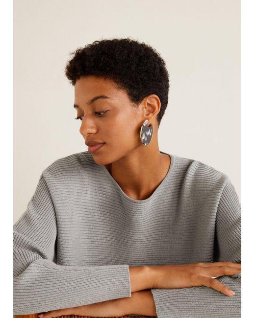 Mango - Gray Ribbed Knit Sweater - Lyst