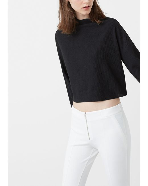 Mango | Black Ribbed T-shirt | Lyst