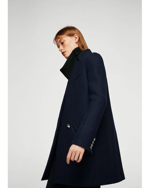 Mango Military Style Wool Coat in Blue | Lyst