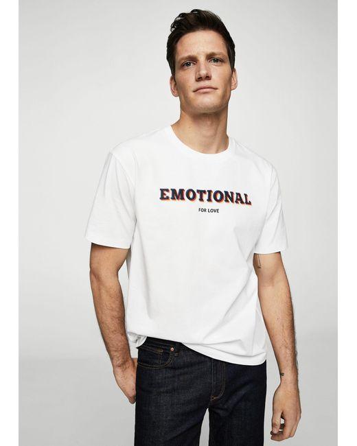 Mango - White Organic Cotton Message T-shirt for Men - Lyst