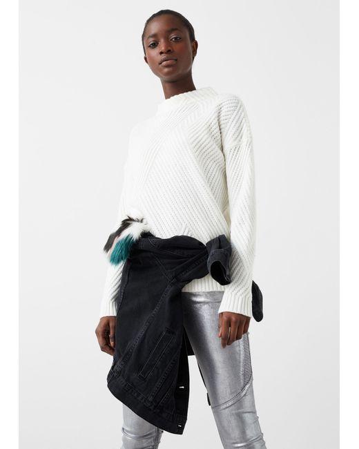 Mango | White Stripe Textured Sweater | Lyst