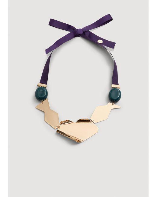 Mango - Metallic Bead Necklace - Lyst