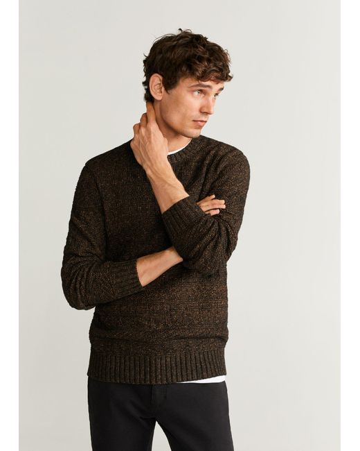Mango Black Flecked Structure Cotton Sweater for men