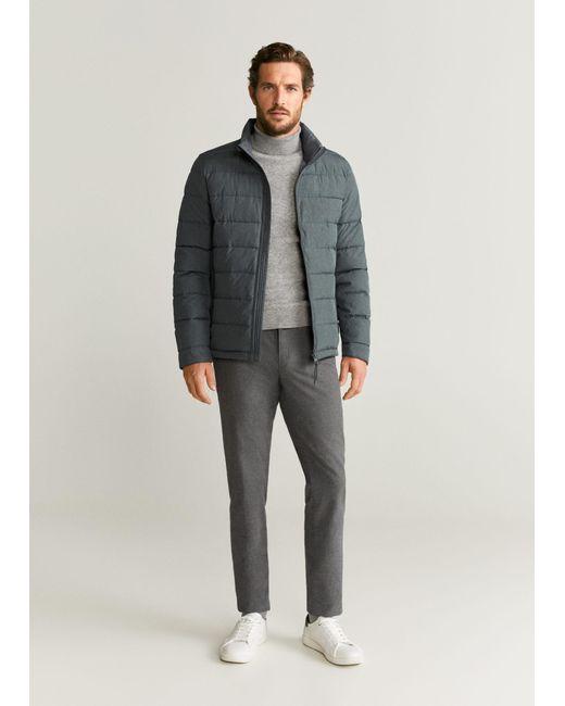 Mango Gray Water-repellent Quilted Jacket Medium Heather Grey for men