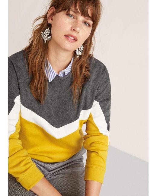 Violeta by Mango - Gray Mixed Cotton Sweatshirt - Lyst