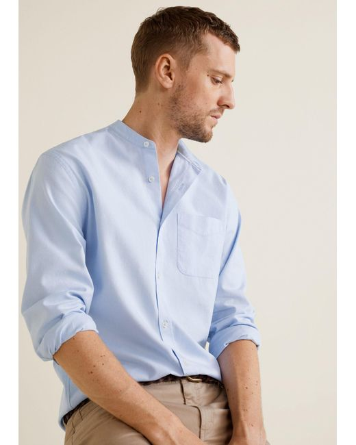Mango - Blue Regular-fit Mao Collar Shirt for Men - Lyst