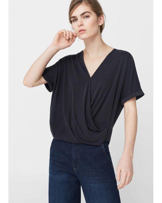 Mango | Blue Draped Detail T-shirt | Lyst