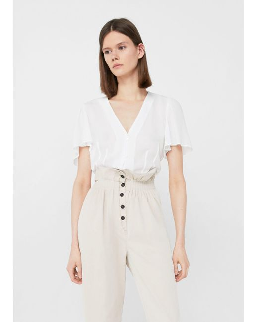 Mango | White Buttoned Flowy Blouse | Lyst