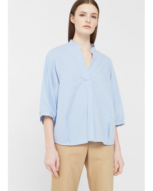 Mango | Blue Puffed Sleeves Blouse | Lyst