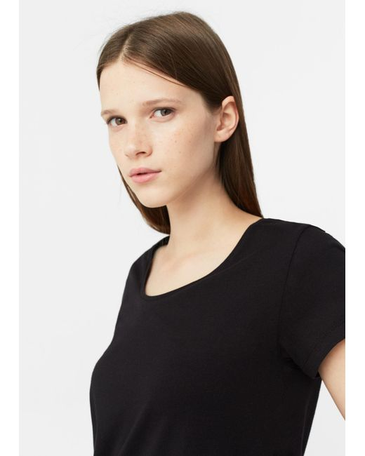 Mango | Black Organic Cotton T-shirt | Lyst