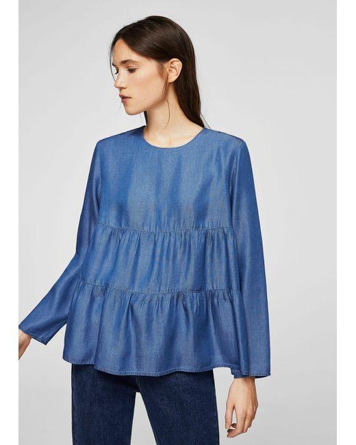 Mango   Blue Shirt   Lyst
