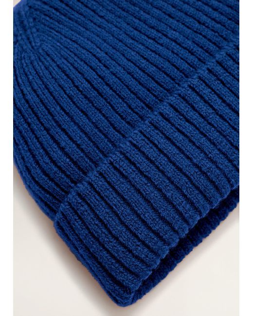 Mango - Blue Ribbed Knit Beanie for Men - Lyst