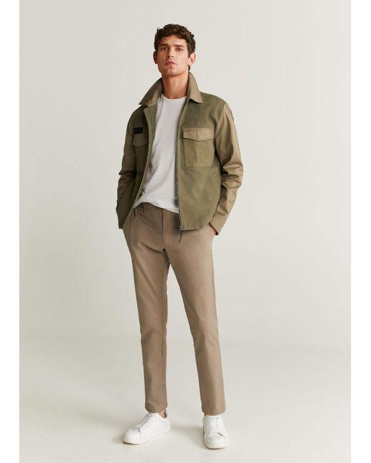 Mango Natural Pockets Two-tone Jacket Khaki for men