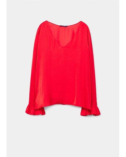 Violeta by Mango   Red Ruffled Sleeve Blouse   Lyst