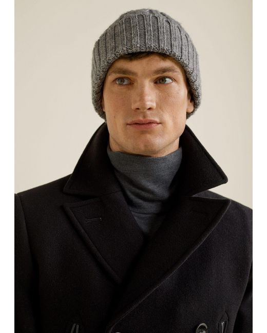 Mango - Gray Cable-knit Beanie for Men - Lyst