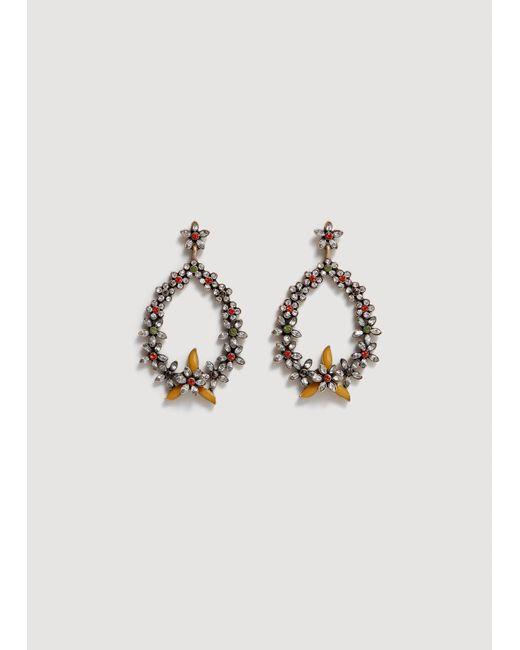 Mango - Metallic Flower Pendant Earrings - Lyst