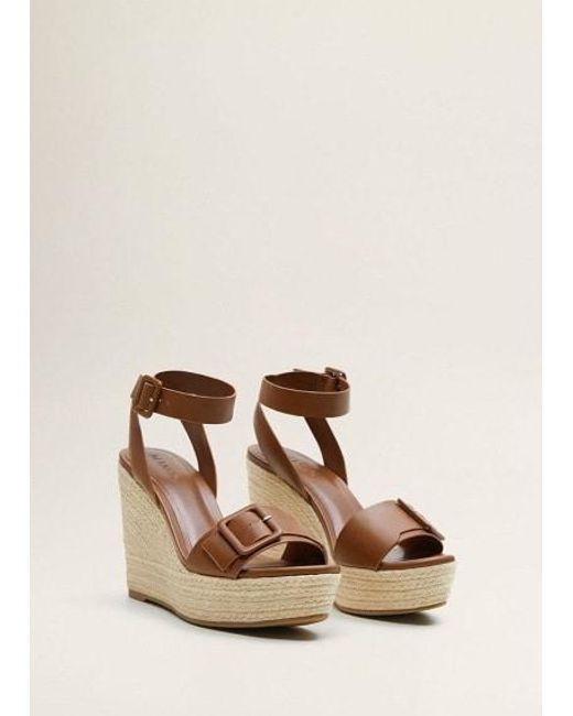 837f55ac97 Mango - Brown Sandals Leather - Lyst ...