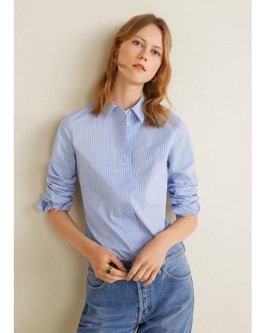 689ba19d75 Mango Striped Shirt Blue in Blue - Lyst