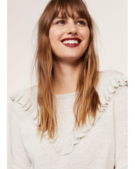 Violeta by Mango | Gray Ruffled Cotton Sweater | Lyst
