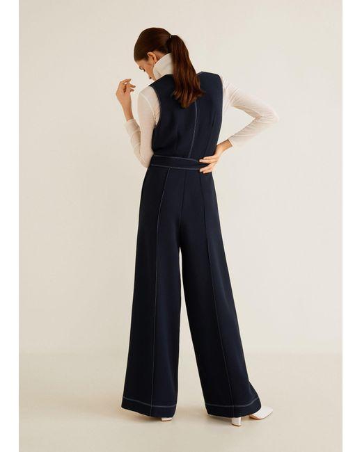 c4abdf52990 ... Mango - Blue Contrast Seam Jumpsuit - Lyst ...