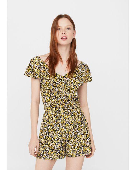 Mango | Yellow Floral Short Jumpsuit | Lyst