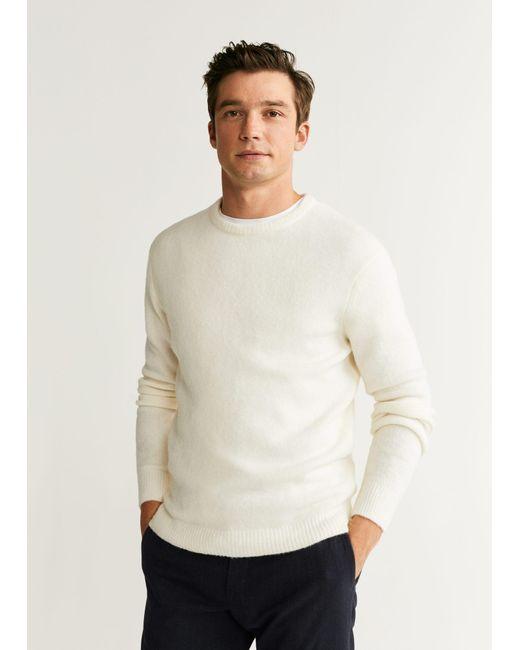 Mango White Textured Wool-blend Sweater for men
