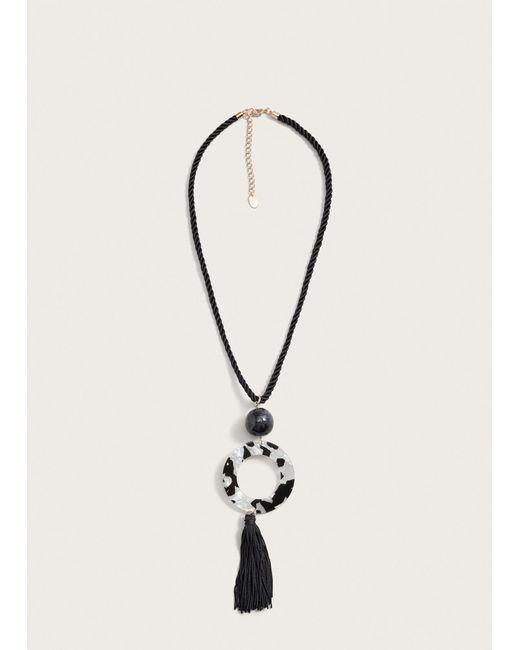 Violeta by Mango - Black Tassel Bead Necklace - Lyst
