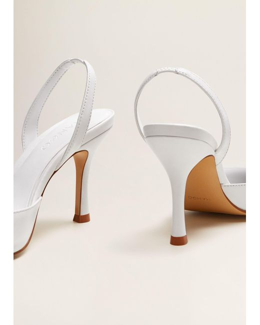 3a9f1d12d264 ... Mango - White Heel Leather Shoes - Lyst ...