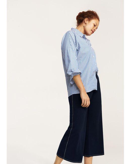 Violeta by Mango | Blue Contrast Seam Trousers | Lyst