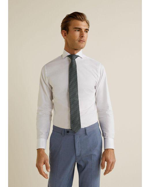 36dd794b6ac7 Mango - White Slim-fit Tailored Textured Shirt for Men - Lyst ...