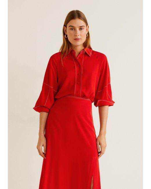 3c133816fd2743 Mango - Red Flowy Shirt - Lyst ...