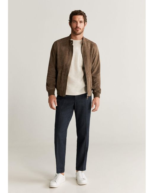 Mango Brown Contrasting Finish Suede Bomber for men