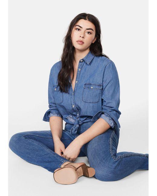 Violeta by Mango Blue Lace Up Skinny Jeans