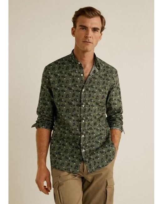 6d4c467b7f11 Mango - Multicolor Regular-fit Cotton Linen-blend Shirt Khaki for Men - Lyst  ...