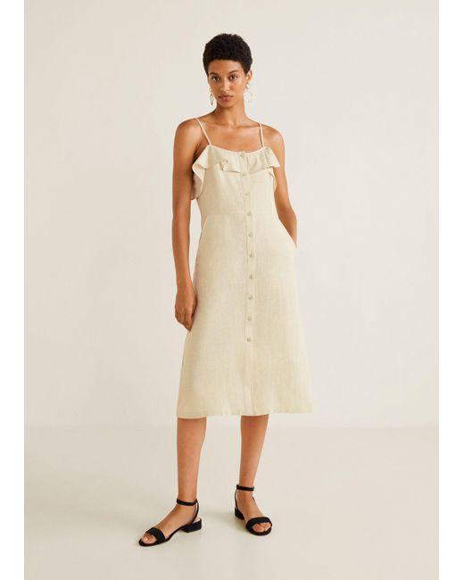 0d1b412397 ... Mango - Natural Ruffled Linen Dress - Lyst ...