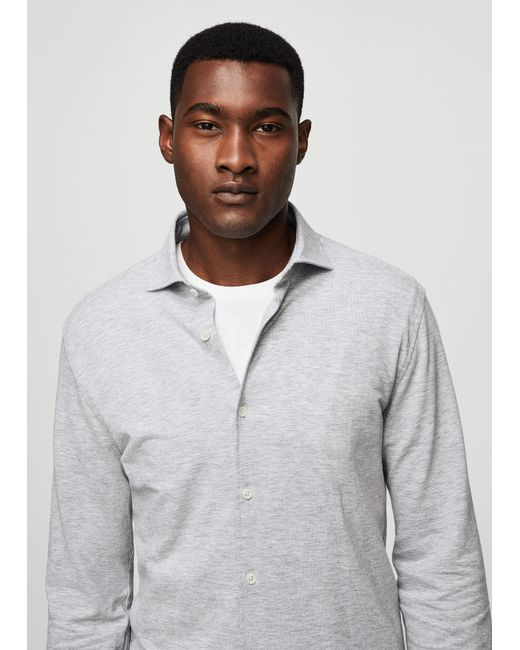 Mango | White Flecked Cotton Shirt for Men | Lyst