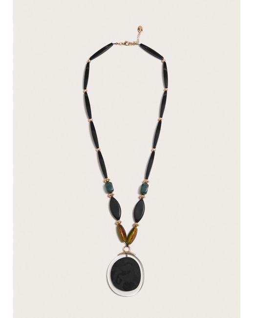 Violeta by Mango - Black Geometric Pendant Necklace - Lyst