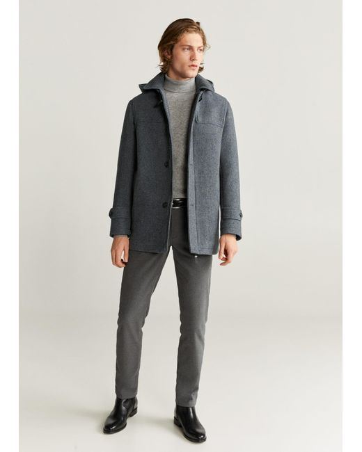 Mango Gray Detachable Hood Wool Coat Medium Heather Grey for men