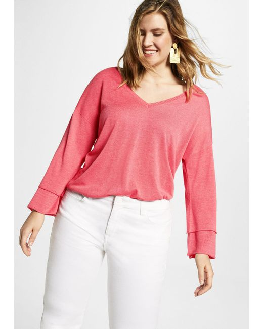 Violeta by Mango - Pink V-neck Wool Sweater - Lyst