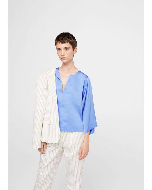 Mango   Blue Flowy Textured Blouse   Lyst