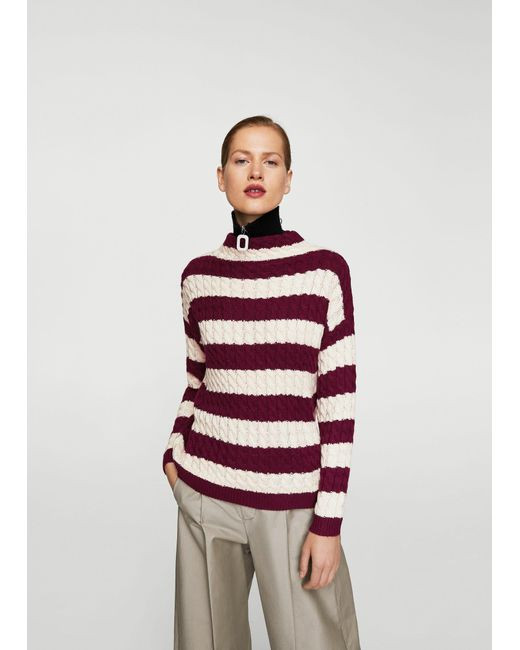Mango Knit Striped Sweater | Lyst