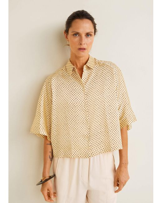 6b44f19a6d06be Mango - Yellow Polka-dot Print Blouse - Lyst ...