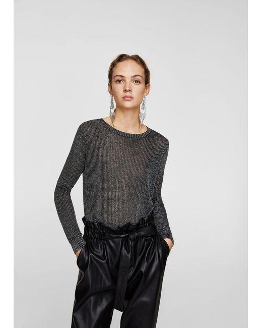 Mango - Black Metallic Thread Textured Sweater - Lyst