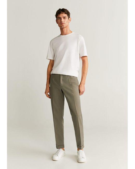 Mango Natural Slim-fit Linen Pants Khaki for men