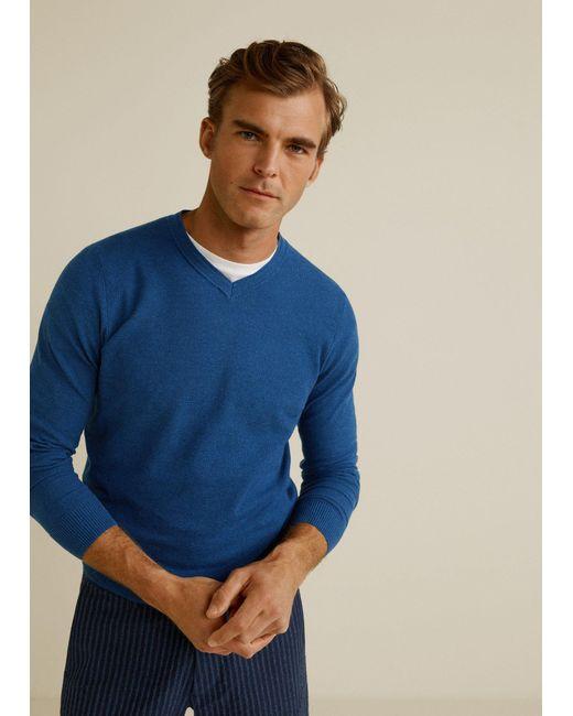 Mango Blue Structure Cashmere Cotton Sweater for men