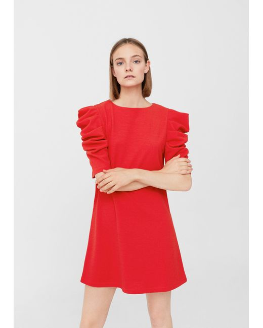 Mango | Red Puffed Sleeves Dress | Lyst