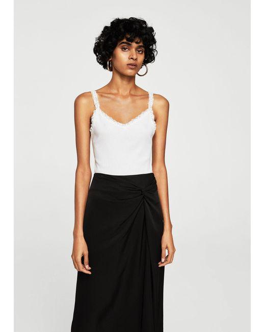 Mango - White Lace Strap T-shirt - Lyst