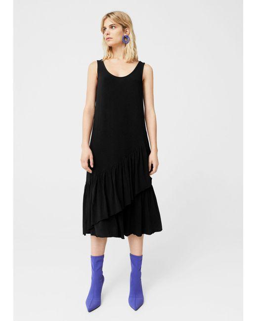 Mango | Black Ruffled Midi Dress | Lyst