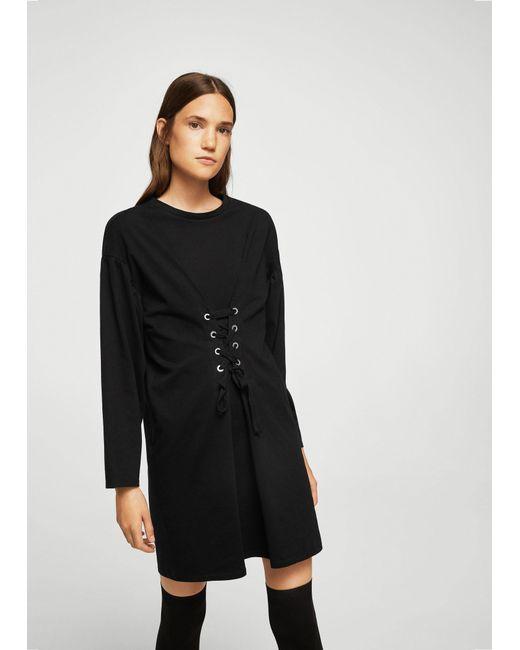 Mango   Black Corset Desing Dress   Lyst