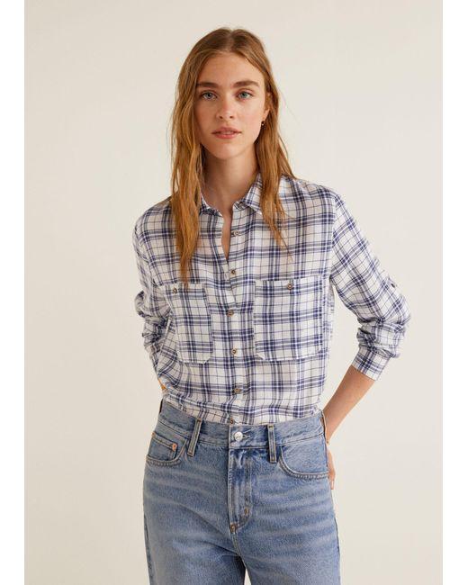 549262e29014 Mango - Blue Pocket Striped Shirt for Men - Lyst ...
